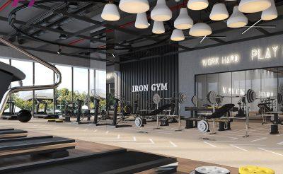 Mẫu thiết kế phòng Gym 600m2 phong cách hiện đại