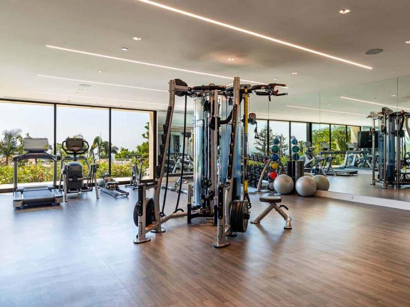 Mẫu thiết kế phòng gym đẹp gần gũi với thiên nhiên
