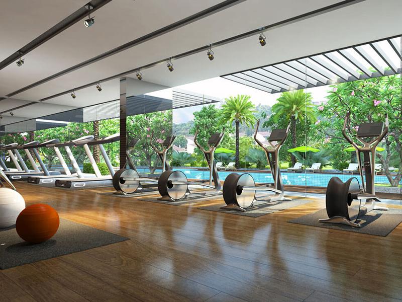 Mẫu thiết kế phòng gym gần gũi với thiên nhiên