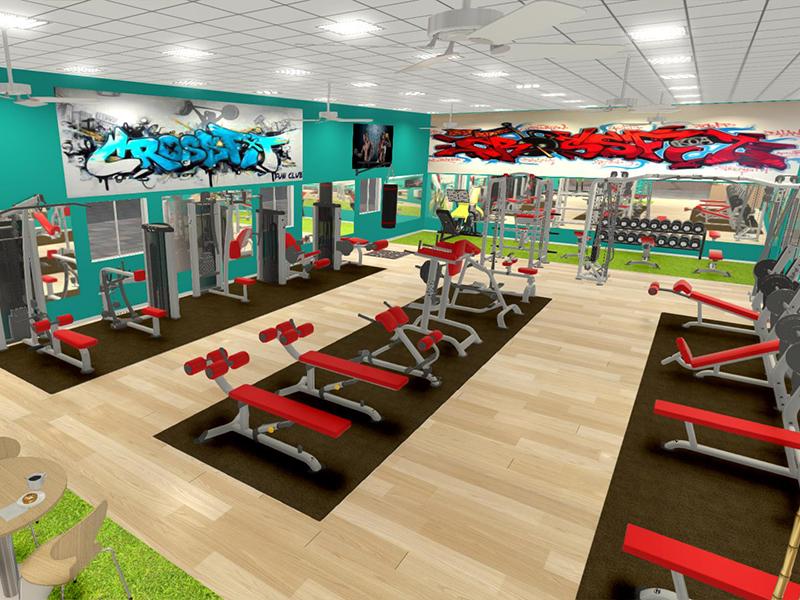 setup phòng gym 200m2 với thiết kế đơn giản