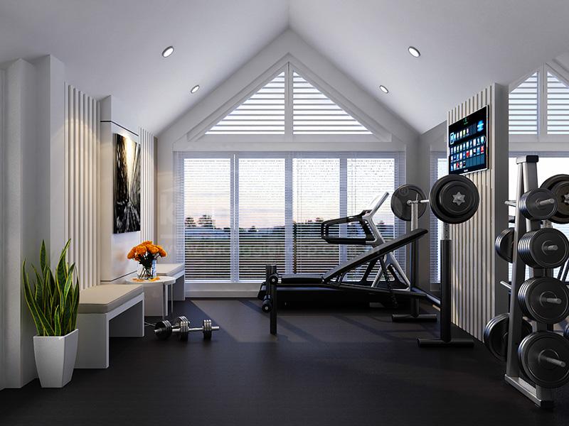 Mẫu thiết kế phòng gym tại nhà trên tầng mái