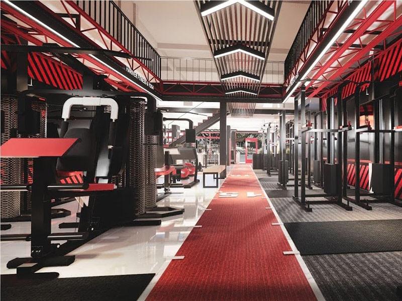 Mẫu thiết kế phòng gym màu đỏ 4