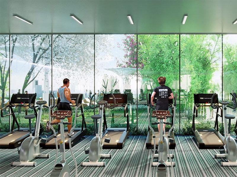 Mẫu thiết kế phòng gym màu xanh lá cây 1